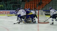 Stock Video Footage of Rough hockey situation, Sweden-Finland
