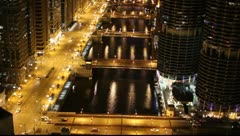 Chicago River Drawbidges at night Stock Footage