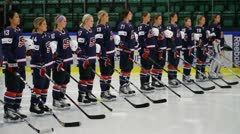 USA women hockey team, national anthem - stock footage