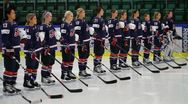 Stock Video Footage of USA women hockey team, national anthem
