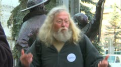 """occupy (wall street) Calgary, angry man rant """"corporations have more rights.. - stock footage"""
