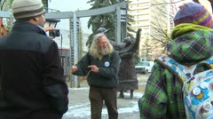 """Occupy (wall street) Calgary, angry man rant """"the reality is.. Stock Footage"""