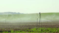 Sprinklers in the filed. - stock footage