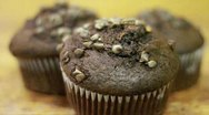 Chocolate Muffin Tilt Up Stock Footage