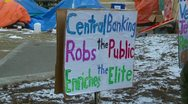 Protest, Occupy (Wall-Street) Calgary, bank signs Stock Footage