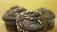 Chocolate Muffin Tilt Down Stock Footage