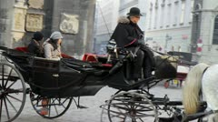 Horses, carriage, Vienna. Austria. 3 Stock Footage