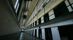 Prison cellblock interior Stock Footage