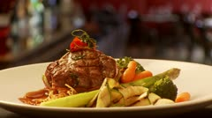 Steak with Vegetables - Gourmet dish  Stock Footage