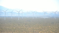 Wind turbines in California desert Stock Footage