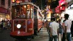 Istiklal street tram Stock Footage