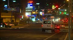 Barstow Main street, night long shot Stock Footage