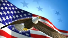 Eagle and American Flag - stock footage