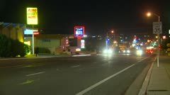 Barstow Main street, night Stock Footage