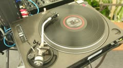 Player of vinyl records twists plate and music sounds Stock Footage