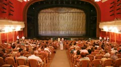 At New Opera Theatre spectators expect representation before scene Stock Footage