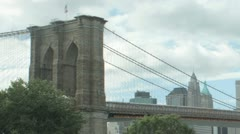 Panning Time Lapse of the Brooklyn Bridge and lower Manhattan Stock Footage
