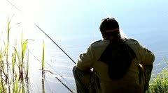 Fishing on a summer day - stock footage