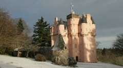 Craigievar Castle, Scotland, in wintertime Stock Footage