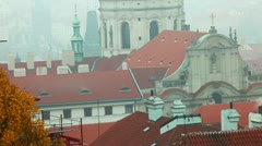 Old Prague roofs at autumn morning with smoke from pipe Stock Footage