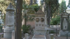 Old family plot in italian cemetery (glidecam) Stock Footage
