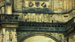 Pan on wall - architecture details of cathedral of historical  Prague City Stock Footage