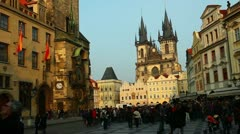 Pan on tower at Prague sentral square at evening Stock Footage