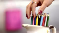 Stock video footage pencils female hands Stock Footage