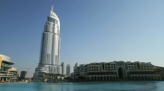 Burj Khalifa Lake and Dubai Mall Stock Footage
