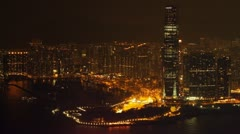 West Kowloon at night Stock Footage