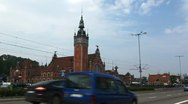 Stock Video Footage of Beautiful Gdansk Train Station Street, Square, Old City, Medieval Town, Poland