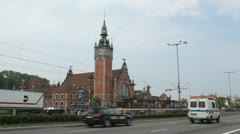 Beautiful Gdansk Train Station Street, Square, Old City, Medieval Town, Poland Stock Footage