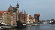 Stock Video Footage of Beautiful Gdansk Cityscape, Krantor, Motlawa River, Old Ship, Medieval Town