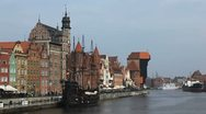 Stock Video Footage of Beautiful Gdansk Cityscape, Krantor, Motlawa River, Old Ship, Time Lapse