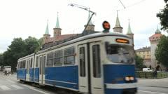 Krakow Barbican Area, Barbakan, Basztowa Street, Old Town Gateway, Poland Stock Footage