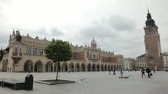 Street View of Krakow, St. Mary's Basilica, Sukiennice, Cloth Hall, Market Stock Footage