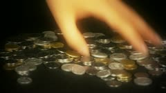 Hand grabbed a lot of money and coins. Stock Footage