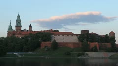 Gothic Wawel Royal Castle, Wawel Cathedral, Wawel Hill in Krakow, Poland Stock Footage