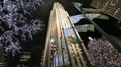 Rockefeller Center NYC Christmas holiday season winter at night - stock footage