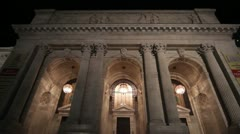 New York Public Library Pan Down Stock Footage