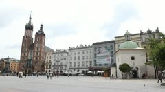 Street View of Krakow, St. Mary's Basilica, Sukiennice, Cloth Hall, Market Stock Footage