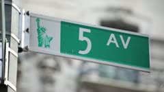 Stock Video Footage of 5 AV fifth avenue sign