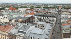 Aerial View of Florianska Street, St. Florian's Gate, Church of St. Florian Stock Footage