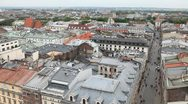Stock Video Footage of Aerial View of Florianska Street, St. Florian's Gate, Church of St. Florian
