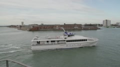 Isle of Wight Catamaran Ferry in Portsmouth Harbour Stock Footage