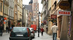 St. Mary's Basilica, Old Town, Street View of Florianska Street, Krakow, Poland Stock Footage