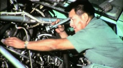 Native AMERICAN Man INDIAN AIRPLANE TECHNICIAN 1965 Vintage Industrial Film 1504 - stock footage