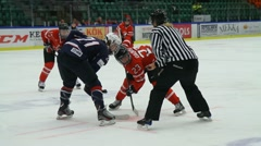 Face-off ice hockey USA-Canada Stock Footage