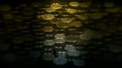 Caress golden coins by hand. Stock Footage