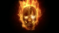 Stock Video Footage of Fiery skull burning in loop with particles in slow motion